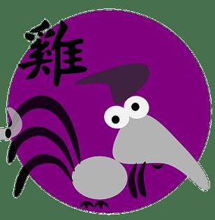 Symboli ja kiinalainen merkki kukolle kiinalaisessa astrologiassa ja kiinalaisissa horoskoopeissa.