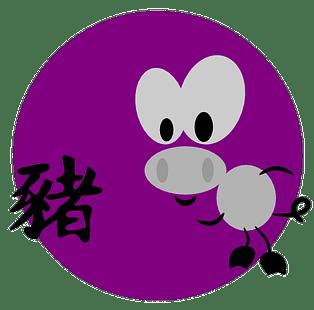 Symboli ja kiinalainen merkki sialle kiinalaisessa astrologiassa ja kiinalaisissa horoskoopeissa.