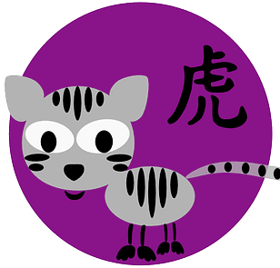 Tiikerisymboli ja kiinalainen merkki kiinalaisessa astrologiassa ja kiinalaisissa horoskoopeissa.